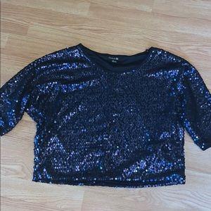 Forever 21 navy blue sequin sparkle shirt top L